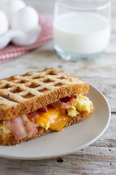 Waffled Breakfast Grilled Cheese Sandwich Recipe