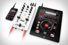 There are a lot of good/great DJ apps for iOS, but if you're ready to graduate to physical control over your mixes, the iRig Mix is a good place to start. This lightweight, portable box offers crossfader, cue, EQ, and volume controls, can be used with a single iOS device or in a more traditional two device setup, and also offers an extra guitar/mic input, standard RCA outputs for direct connection to PAs or powered speakers, and, of course, a headphone output for master or cue monitoring.