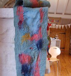 Nuno felted scarf/ Ocean swirl by Beautifulfelts on Etsy, $48.00