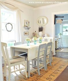 Beautiful White Cottage Dining Room With DIY Ideas and Tutorials