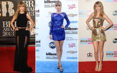 7. Taylor Swift é conhecida por seus vestidos românticos e estilo mais retrô. Em 2013, ela seguiu a linha mais comportada, como no longo com transparência nas pernas, mas também se jogou nos curtinhos justos para aparecer no tapete vermelho. Ui!  O que entrou no guarda-roupa dela: vestidos curtinhos e justos, muitos paêtes e pedrarias, sandálias com tiras fininhas e peças metalizadas, principalmente douradas.