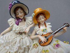 Gorgeous Excellent Antique German Porcelain Dresden Figure Figurine Lady | eBay