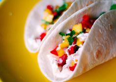 Fish Tacos with Mango Salsa and Cilantro Lime Sauce