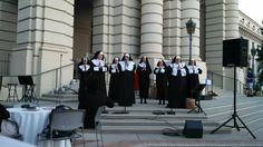 """'Nuns' singing """"The Hills Are Alive With The Sound of Music"""" on the steps of Pasadena City Hall to kick off ArtNight Pasadena 2014"""