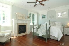 bedrooms - fireplace in bedroom, bedroom fireplace, gray bench, blue walls, cottage bedroom,  Lovely blue green paint color walls in bedroom...