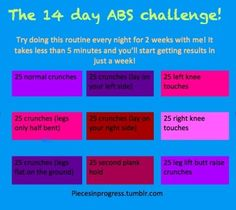 This workout out really works in just 3 days I can feel my abs getting harder! And by two weeks your body will look amazing! Everyone try it out. You won't regret it!