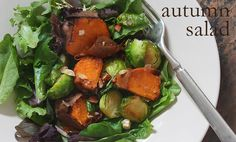 autumn salad - sweet potatoes and brussels sprouts on wilted greens