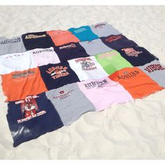 Sew together old T-shirts for a beach blanket. 20 shirts = king-size comforter. ellebeeTee Original