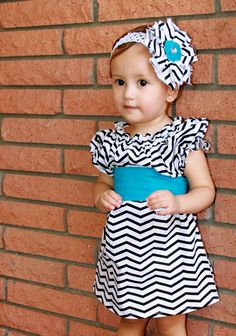 Black and White Chevron Peasant Dress with Sash 3 by JemiBoutique, $40.00