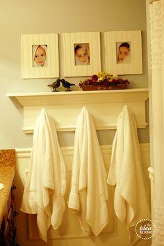 DIY bathroom towel rack organization from the idea room towel racks, powder bath, boy bathroom, bathroom organization, bathroom designs, bathroom towel rack, kid bathrooms, guest bathrooms, design bathroom