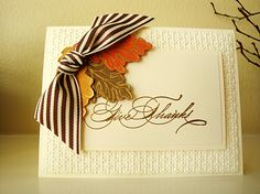 """Recipe: Paper: Very Vanilla - 8-1/2 X 5-1/2; Very Vanilla - 5-1/4 X 4; Very Vanilla - 4-1/4 X 2-3/4; Very Vanilla - 4 X 2-1/2; Soft Suede scrap; Tangerine Tango scrap; More Mustard scrap Stamps: Hand-Penned Holidays; Gently Falling Inks: Versamark Miscellaneous: Stampin' Dimensionals; Square Lattice Embossing Folder; Big Shot Machine; Gold Embossing Powder; Heat Tool; Paper Snips; 1/8"""" Hole Punch; Early Espresso Wide Striped Grosgrain Ribbon"""