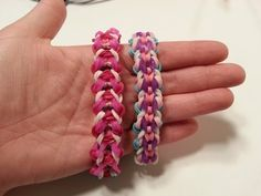 Rainbow Loom WONDERLAND Bracelet (reversible). Designed and loomed by Loves2Loom. Click photo for YouTube tutorial. 06/23/14.
