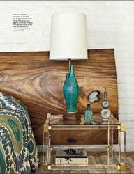wood headboard/side table