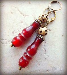 bobbin earring, pierc bone, bone bead