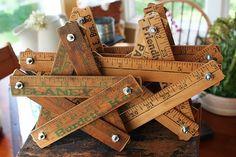 Ruler Stars http://mamiejanes.blogspot.com/2011/08/bullseye-molding-picture-display-and.html  #ruler #yard #stick #yardstick #repurpose #star #stars #make #create #craft #crafty #crafting #vintage #old #retro #ideas