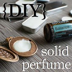 Enjoy the many benefits of essential oils in a long-lasting solid perfume. Just simply add your favorite essential oil to the mixture and pour into any container of your choice for a personalized perfume you will love. To order, or for info, please visit www.MyDoterra.com/Lively solid perfum, essential oil containers, essential oils perfume, coconut oil, vintage necklaces, essenti oil, happy campers