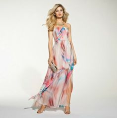 This chic party dress in watercolour print and fluid fabric is absolutely gorgeous