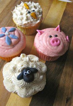 Farm party cupcakes