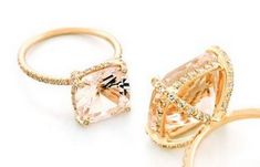 Pink Morganite with gold pave' setting by Vera Wang