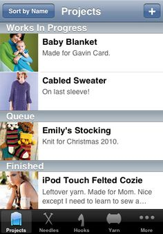 Vogue Knitting IPhone App: Projects.