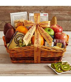 Birthday Fruit Gift Basket - This fabulous Farmer's Market Finds Gift Basket with Happy Birthday Ribbon is a wonderful birthday gift... #giftbaskets #fruitbasket #birthday