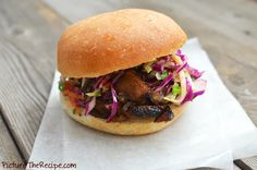 Caramelized Pork Sandwich with Sweet 'n Tangy Apple/ Cabbage Slaw by picturetherecipe #Sandwich #Pork #Apple_Slaw
