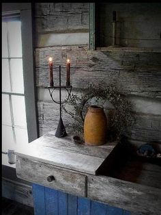 primit, prim cupboard, candle holders, candles, prim display, prim candl, candl holder, countri, dri sink