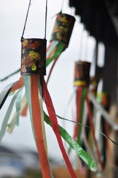 Recycled Wind Catchers with Ribbon. So easy to make with the kids and great to hang outside for fall.