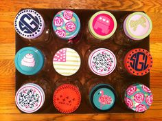 painted mason jar lids. SO CUTE
