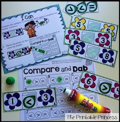 Compare and Dab! Students will use the symbols < and > to compare numbers to 10.