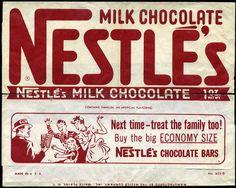 Nestle's Milk Chocolate - candy bar wrapper - 1950's 1960's by JasonLiebig, via Flickr