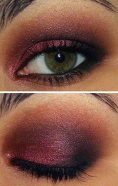 Smokey cranberry eye make-up