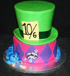 Cake ideas....Google Image Result for http://2.bp.blogspot.com/--dDBLjXE8uE/Tf_QyEis0KI/AAAAAAAACHU/57OijnEEK0k/s1600/Mad_hatter_birthday_cake1.jpg