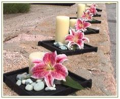 Centerpiece idea but use green/white cymbidium orchids instead of pink