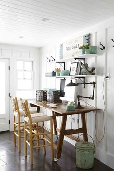 The Polished Pebble: Country Living mudroom office space
