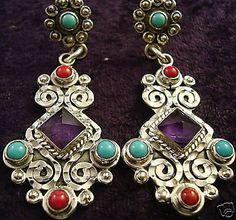 VINTAGE DESIGN TAXCO MEXICAN STERLING SILVER AMETHYST TURQUOISE EARRINGS MEXICO LUSCIOUS AMETHYST/TURQ/CORAL-DECO SCROLL-GORGEOUS!! $99.95