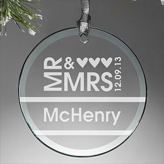 "This. Is. BEAUTIFUL! It's a ""Mr. & Mrs."" Personalized Glass Wedding Christmas Ornament - you can have it engraved with any name and wedding date - this is a great wedding gift idea for the bride and groom or a great Christmas gift idea for couples celebrating their first married Christmas together!"