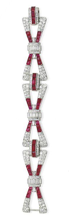 A RUBY AND DIAMOND BRACELET Art Deco style.