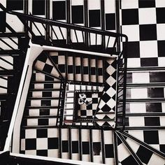 black and white brain teaser stairs
