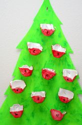fun, easy advent calendar made from egg cartons and a posterboard