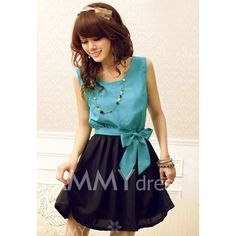 chiffon: baby blue / teal top , black skirt and bow belt