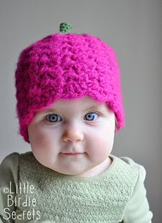 Sweet Strawberry Crocheted Cap - free crochet pattern