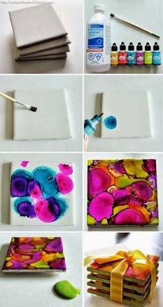 DIY Alcohol Ink Dyed Coasters ~ cute for me, or a gift! with encre Pinata http://www.collegegloss.com/2013/05/diy-alcohol-ink-dyed-coasters.html