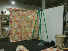 """Set up day begins...wall # 1 done for """" Lilly Pulitzer """" display for Chicago Flower & Garden Show"""