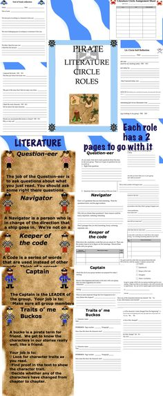 A pirate themed Literature Circle.  Complete with role descriptions, self reflections, and assignment sheets.  Common Core State Standards: RL.3.1, RL.3.3, RL.3.4, RL.3.5, SL.3.1, SL.3.3, SL.3.6