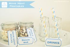 printable movie night tickets and snack labels