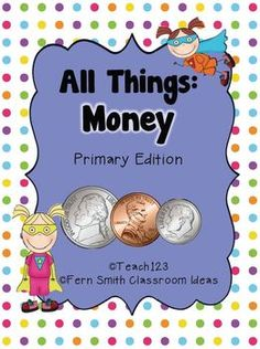 Money-Math and Literacy Lessons FS This Packet has a total of TEN different items for your math & literacy centers to help you teach money! This pack is also perfect for February to incorporate Social Studies and Presidents' Day!