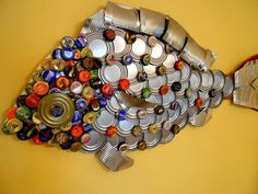Red Fish Bottle Cap Fish Art by davist3 on Etsy