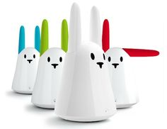 "Karotz Smart Rabbit  Internet-connected ""smart rabbits"" that can be integrated with your social networks. The rabbits will update your Facebook and Twitter pages, send emails and read texts. And there's more–the voice-recognition software helps the rabbit do requested commands, such as searching the web, playing music, checking the weather forecast and consuming RSS feeds. There's also a built-in microphone and webcam, It's kind of like Siri, but better."