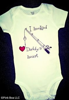 I HOOKED DADDYS HEART Fishing T Shirt Fishing gift by ThePinkBoa, $16.00 ((for a little girl))
